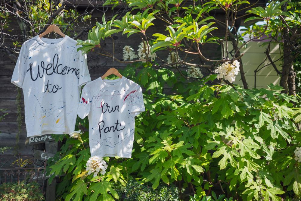 ガーデンにお2人手作りのウェルカムシャツ
